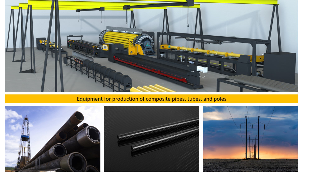 Equipment for production of composite pipes, tubes and poles
