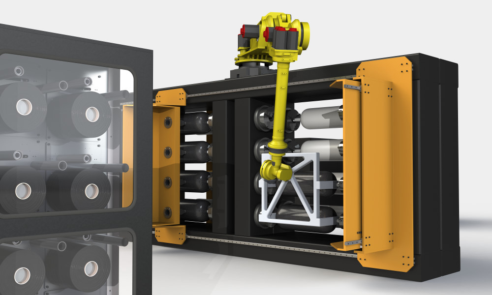 High-speed production line for composite parts manufacturing