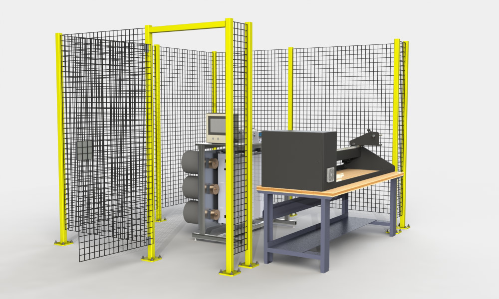 Safety fence for filament winding workcell